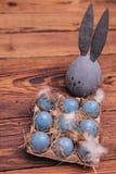 与兔宝宝耳朵的灰色复活节彩蛋在蓝色鸡蛋附近 免版税库存图片