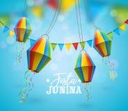 与党旗子的Festa Junina例证和在蓝色背景的纸灯 传染媒介巴西6月节日设计为 免版税库存图片