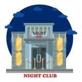 与入口和光的夜总会门面 库存例证