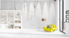 与全新内部正在流行的场面与白色机架和现代黄色椅子 3d翻译 水平的安排 免版税库存照片