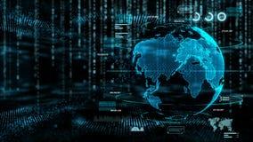 与全球性世界和小点照明设备的抽象黑暗的背景网络技术未来派被处理的概念迷离和五谷的 库存例证