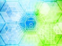 与全球性安全概念的抽象技术背景 锁、六角形和电路板 免版税库存图片