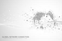 与全球性技术网络概念的世界地图点 数字资料形象化 排行结节 大数据背景 皇族释放例证