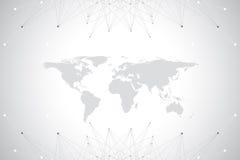 与全球性技术网络概念的政治世界地图 数字资料形象化 排行结节 大数据 向量例证