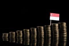 与全部的新加坡旗子在黑色的硬币 免版税库存图片
