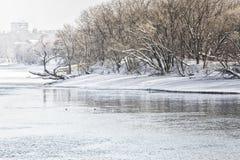 与公园和莫斯科河,葡萄酒的冬天风景 图库摄影