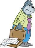 与公文包的动画片大猩猩 免版税图库摄影