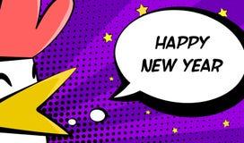与公鸡和文本的新年快乐卡片 漫画样式 库存图片