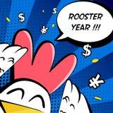 与公鸡的愉快的雄鸡年卡片,美元的符号、元标志和文本覆盖 漫画样式 免版税库存照片