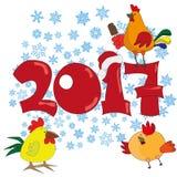 与公鸡的新年明信片2017年 库存照片
