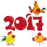 与公鸡的新年明信片2017年 免版税库存图片