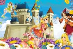 与公主和神仙的动画片场面 皇族释放例证