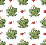 与公主青蛙的无缝的与箭头的样式和心脏我 免版税库存照片