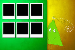 与六个照片框架的圣诞卡 库存照片
