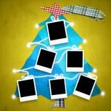 与六个空的框架的圣诞卡 免版税库存图片