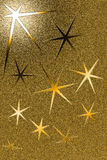 与六个针对性的星的金黄脏的背景 免版税库存图片