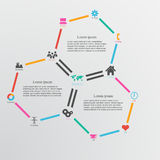 与六角形和infographi的抽象设计模板背景 免版税库存图片