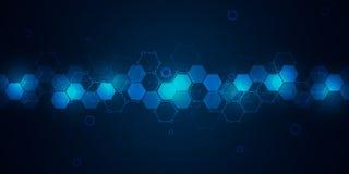 与六角形样式的科学技术背景 分子结构和化学制品高科技背景  向量例证