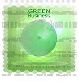 与六角形棱镜的绿色企业背景Vector_Green地球在Hexain几何 免版税库存图片