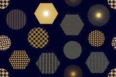 与六角形的日本金黄印刷品 免版税库存图片