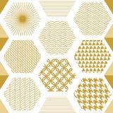 与六角形的日本金黄印刷品 库存照片