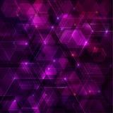 与六角形的紫色抽象techno背景 库存图片