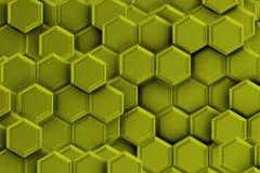 与六角形的绿色金黄backgound 免版税图库摄影