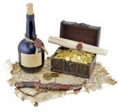 与瓶的海盗地图兰姆酒 免版税图库摄影