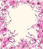 与兰花和水彩污点的花卉框架 免版税库存照片