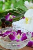 与兰花的芳香疗法治疗 免版税库存照片