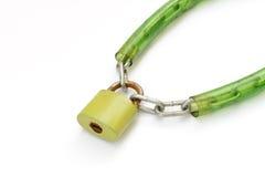 与关键字和链子的金属挂锁 免版税库存照片