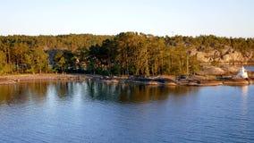 与具球果森林的岩石岸根据日落在北海 影视素材