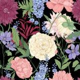与典雅的用于floristry手拉的花和开花植物的花卉无缝的样式在黑背景 免版税库存图片