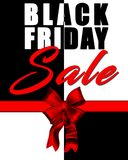 与典雅的红色弓的黑星期五销售背景 免版税图库摄影