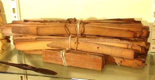 与写钢笔的年迈的棕榈叶原稿 库存照片