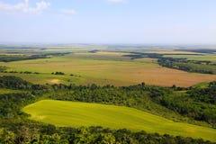 与农业领域的平的开放风景 图库摄影