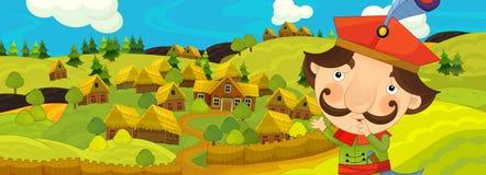 与农夫的动画片场面在农厂村庄附近 向量例证
