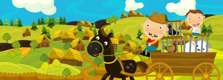 与农夫的动画片场面在农厂村庄附近 库存例证