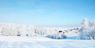 与农村房子和多雪的森林的美好的冬天风景 免版税库存照片