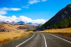与农村柏油路的风景 免版税库存图片
