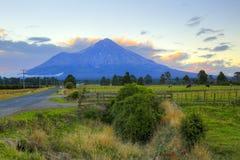 与农田和吃草母牛的新西兰风景在背景火山Taranaki 免版税库存照片