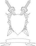 与冠、剑、徽章和丝带的构成 库存照片