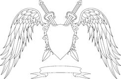 与冠、剑、翼、徽章和丝带的构成 库存图片