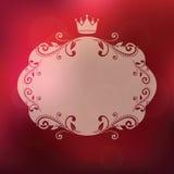 与冠和花饰的框架 免版税库存图片