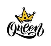 与冠的女王/王后词 手字法文本传染媒介例证 免版税库存图片