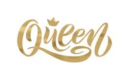 与冠的女王/王后词 手字法文本传染媒介例证 免版税库存照片