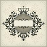 与冠的葡萄酒框架 免版税图库摄影