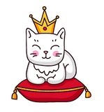 与冠的逗人喜爱的白色猫在一个红色皇家枕头 向量例证