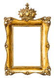 与冠的巴洛克式的金黄画框 葡萄酒对象 免版税库存图片