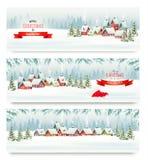 与冬天村庄的三副假日圣诞节横幅 向量例证